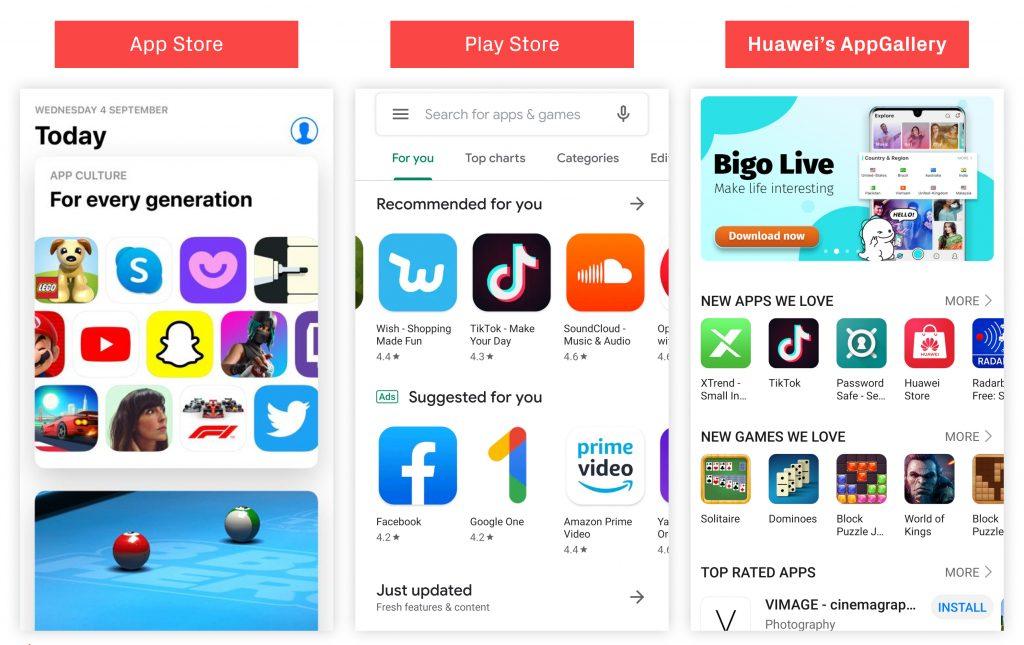 หน้าแอปของ Store แต่ละ OS