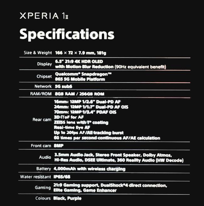 SONY Xperia 1 II Spec Leaked
