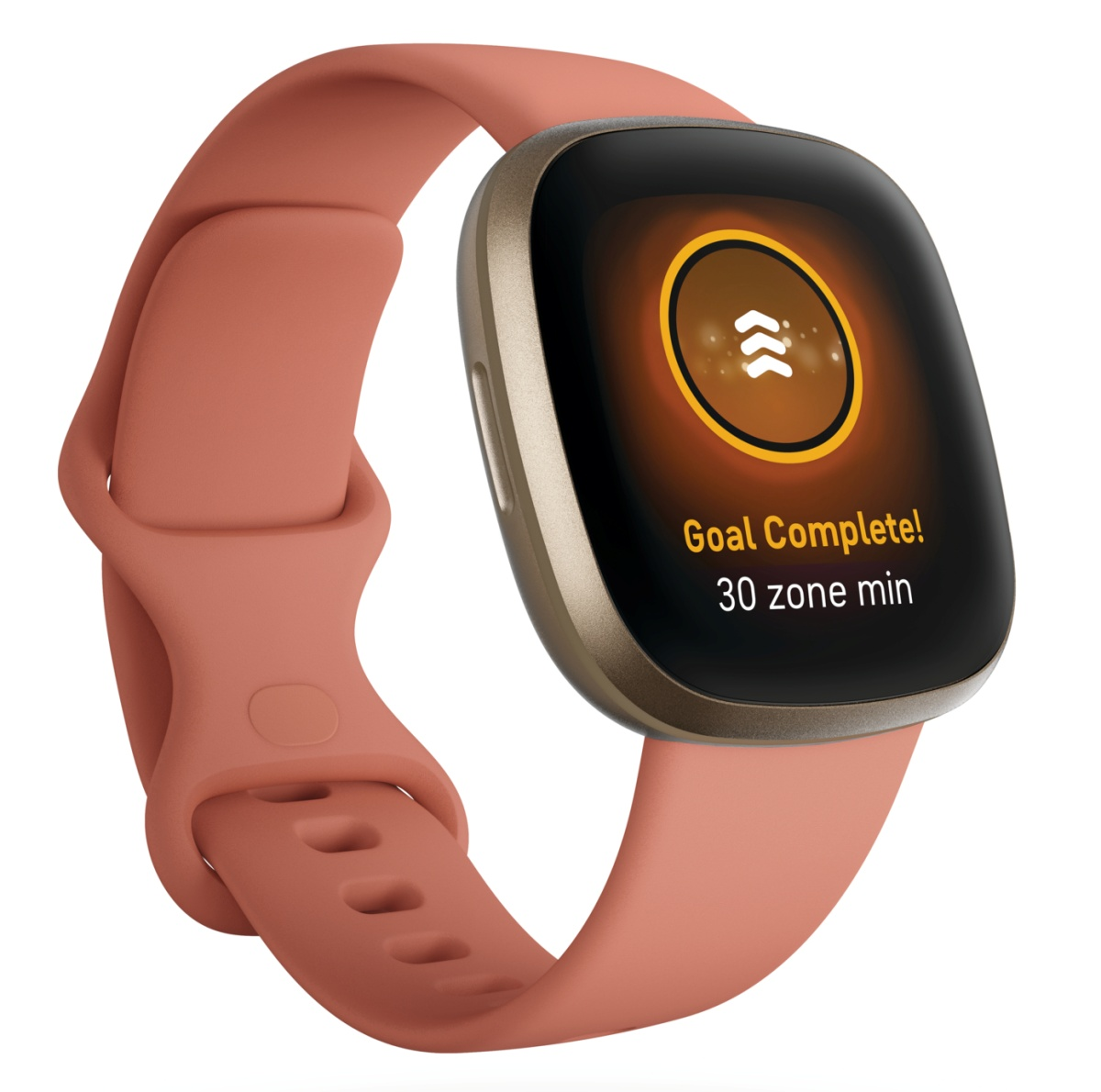 Product render of Fitbit Versa 3, 3QTR view, in Pink Clay and Soft Gold.