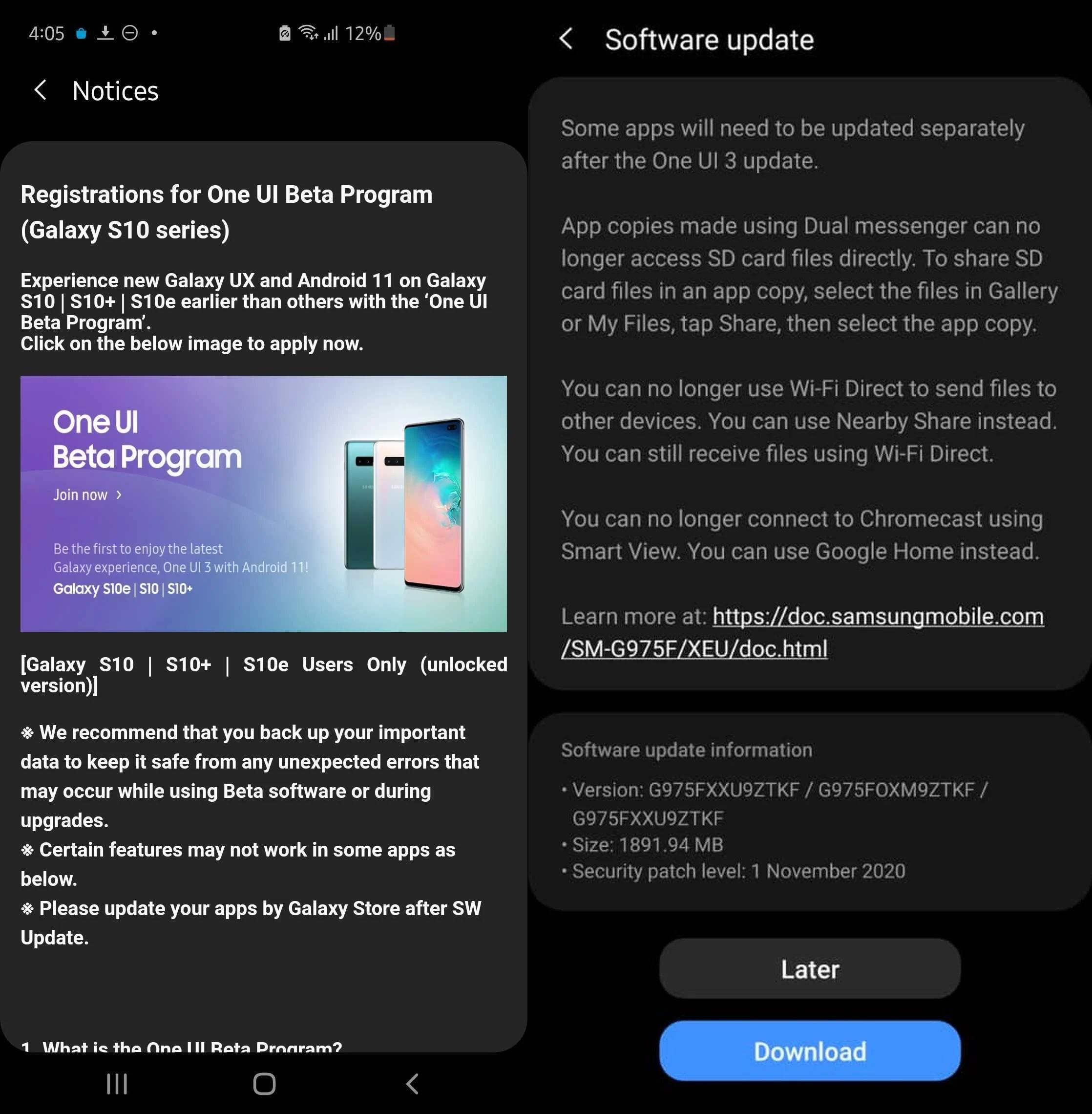 Galaxy S10 One UI Beta Test