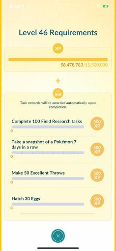 Pokemon Go Level up Requirement