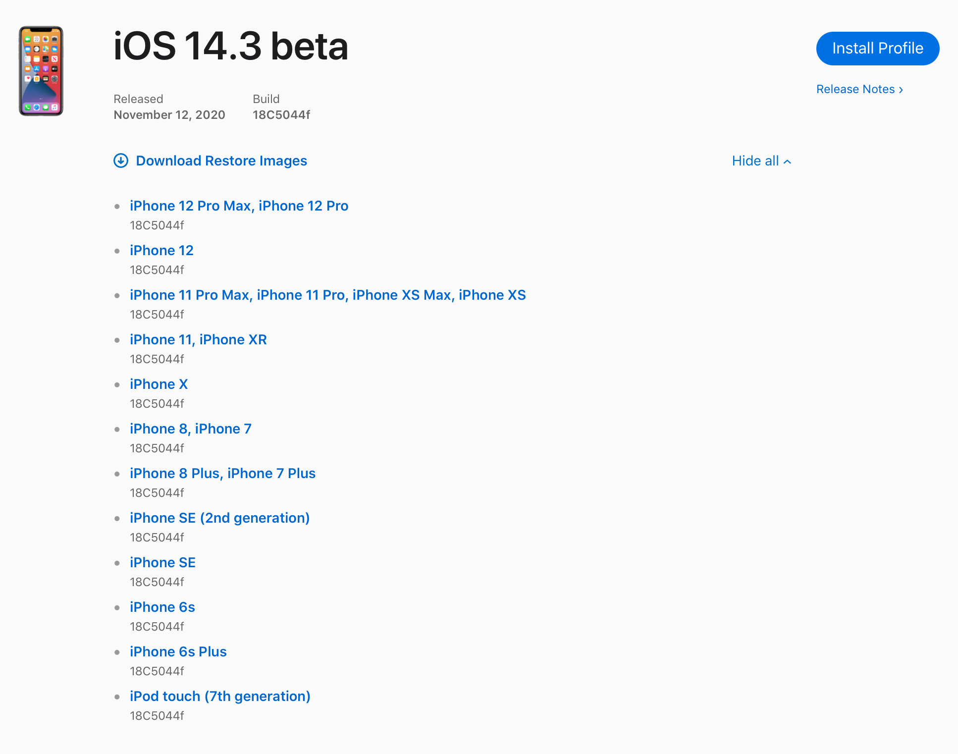 iOS 14.3 Beta Profile