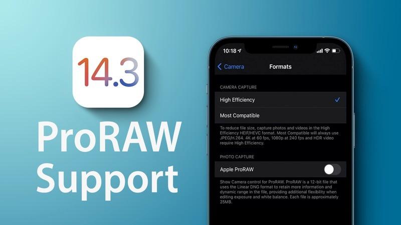 iOS 14.3 ProRAW