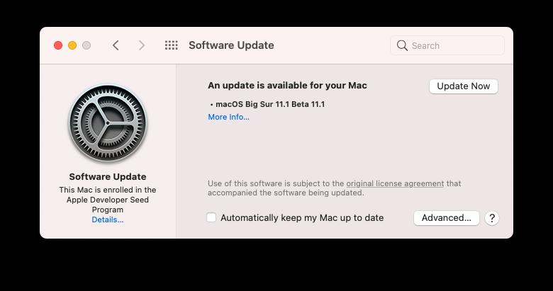macOS Big Sur 11.1 Beta