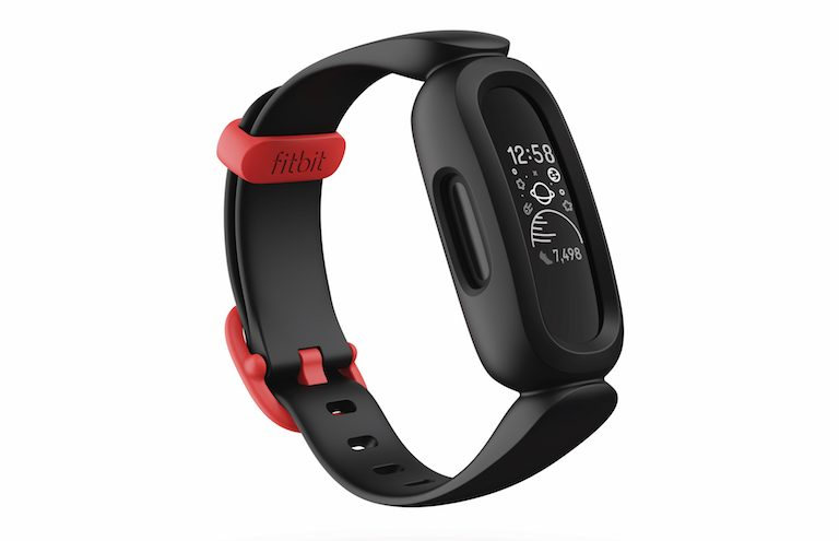Product render of Fitbit Proxima Kids, 3QTR view, in Black/Sport Red.