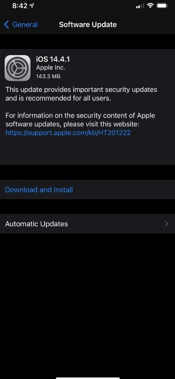 iOS 14.4.1 OTA update