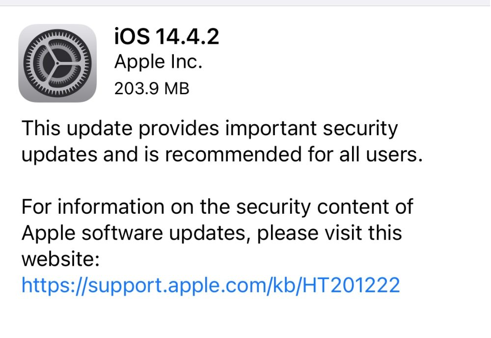 iOS 14.4.2 Patch note