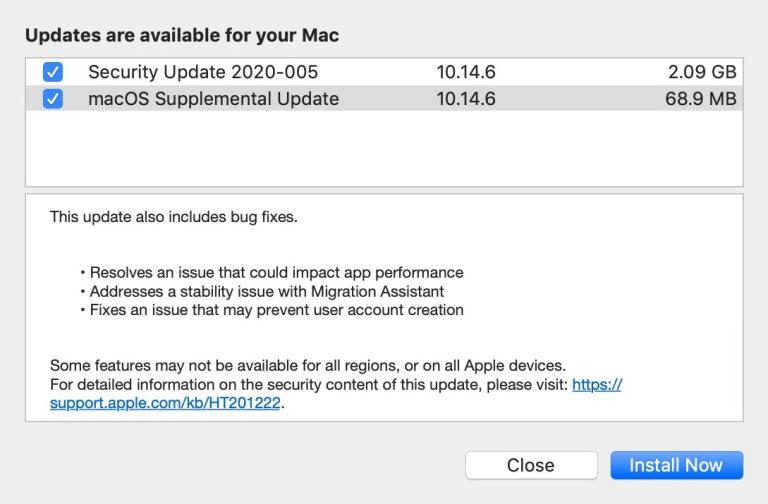 macOS supplemental update