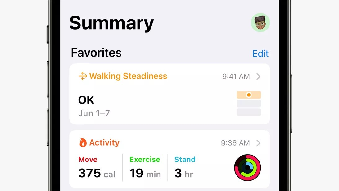 Apple Health walking Steadiness
