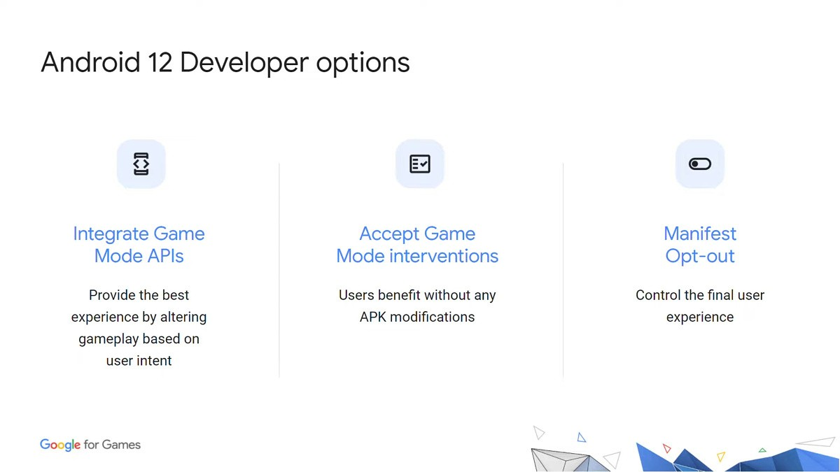 Android 12 Developer Choice for games