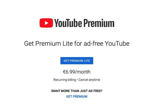 YouTube Premium Lite Europe price